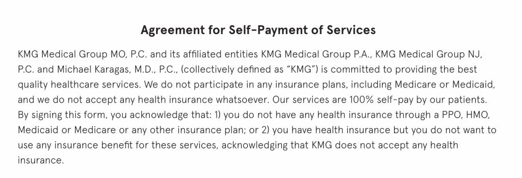 Keeps Self Pay Agreement