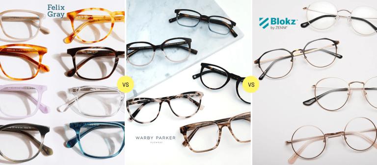 Felix Gray vs Warby Parker vs Blokz by Zenni: Comparing Blue Light Glasses Reviews